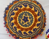 Suzani Round cushion cover Hand Embroidered  Colorful Home Decor Hand Designed Cotton Pillow Case With Pom Pom Lace