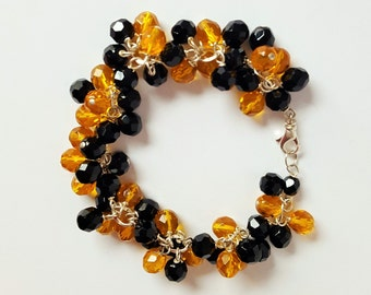 Black and Gold Bead Charm Bracelet
