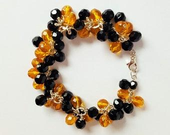 Black and Gold Bead Charm Bracelet
