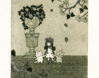 Illustration, Art Print, Home decor, Fine art, Etching, Limited edition, Print, Printmaking, Children, Little girl, Cat - Jardin Français