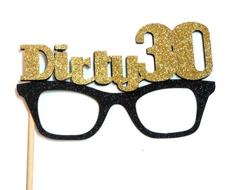 Photo Booth Props - 1PC Dirty 30 Glitter Glasses