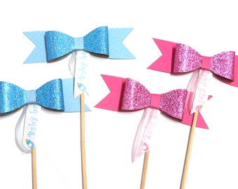 Photo Booth Props - Baby Shower / Gender Reveal Deluxe Bow Ties 4PC Set