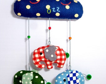 Elephant mobile for boys, red checked elephant mobile, blue w white stars elephant mobile, dark green w white dots elephant mobile