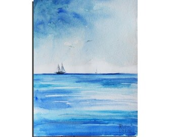 "Original Painting 10""X8"" Abstract Painting Original Watercolor painting, Original Art, Seascape Painting by Tatjana Ruzin, Blue Painting"