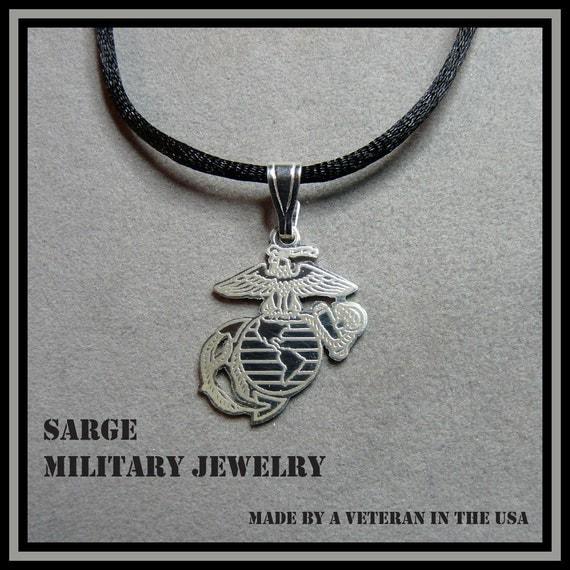 marine corps logo pendant sterling silver usmc jewelry. Black Bedroom Furniture Sets. Home Design Ideas