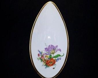 Handarbeit Barvaria Germany Oval Oblong Gold Trimmed Pedestal Floral Fine China Porcelain Dish Rare Unsusal