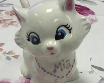 Hand Painted Personalised Kitty Cat Money Box Kiln-fired Ceramic Custom Pottery Christening New Baby Girl Baptism Birthday Gift Present