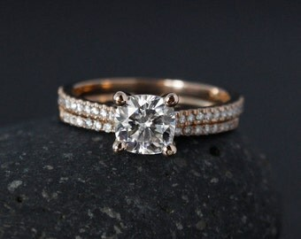 Rose Gold Forever One Moissanite Engagement Ring - Matching Half-Eternity Diamond Band - Prong Set