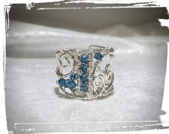 925 Silver ring with Topaz, London Blue
