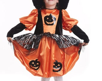 Halloween Pumpkin Witch Costume girls witch costume girls witch dress girls halloween outfit with black witch hat girls Halloween dress