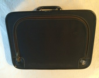 Vintage Fabric Small Suitcase w/ lock & key