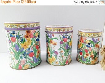 SALE Set of 3 Decorative Tins / Decorative Flower Tin Set / Metal Canister Set / Tin Canister Set / Flower Tin Set / Set of 3 / Flower Tins