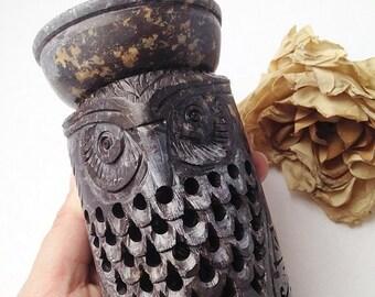 SALE Carved Stone Owl Oil Burner / Owl Oil Burner / Scented Oil Burner / Fragrance Oil Burner / Owl Theme / Owl Decor / Owl Home Decor