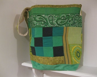 Green Patchwork Messenger Bag