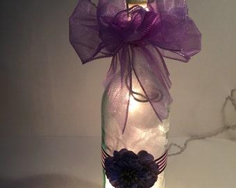 Purple Flower Lighted Bottle