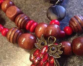 Rubies and owls around you,necklace