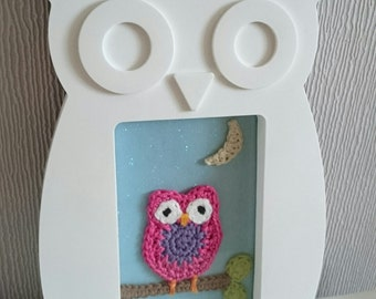Handmade crochet owl picture