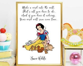 Disney Snow White, Snow White Princess Print, Snow White Quote, Nursery Girl Decor, Disney Quotes, Disney Printables, Snow White Party