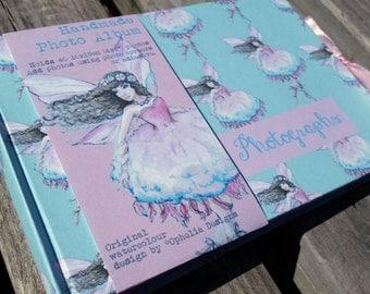 "Handmade photo album, featuring my hand painted fairy delight watercolour design. Album holds 40 10x15cm (4x6"") photos - personalised"