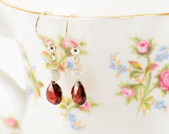 Sterling silver and garnet teardrop earrings