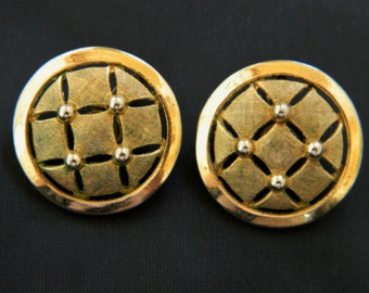 """Vintage Trifari Round Cut Out Geometric Clip On Earrings Gold Tone Signed 1"""""""
