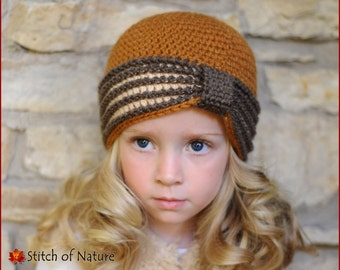 Crochet PATTERN - The Eleanor Turban Hat, 1920s Hat Pattern (Baby to Adult sizes - Girls) - id: 16022