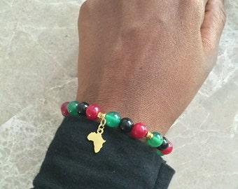 RBG Marcus Garvey inspired Pan-African stretch bracelet
