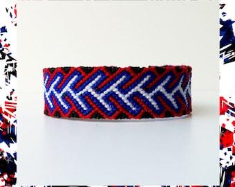 Woven Friendship Bracelet thread Braids women men unisex handmade macrame woven black white red aztec tribal thick wide - Q'enqo Bracelets