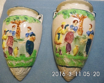 1940 HAND PAINTED WALL POCKeTS FRoM JAPaN