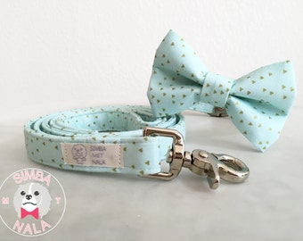 Gold and Turquoise Bow Tie Dog Collar Set with Leash/Triangle Pattern/Cute Bow Tie Dog Collar/ Wedding Gift/Summer/Pastel/Festive/Birthday