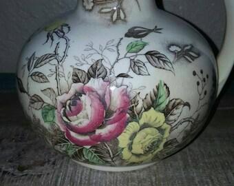 Shabby chic vintage floral vase