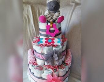 Girls diaper cake - zebra print girls diaper cake