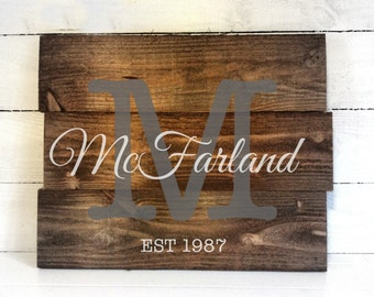 Personalized Wedding Gift - Wedding Rustic Sign - Wedding Rustic Guest book - Customized Wedding Gift - Established Name Sign - Rustic Decor