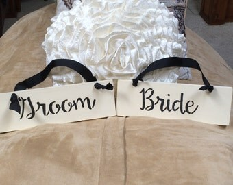 Bride and Groom Wooden Signs