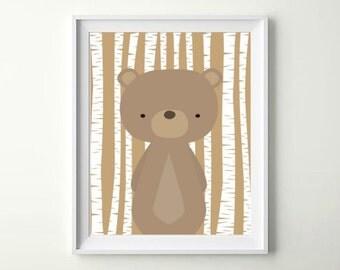 Woodland Bear Woodland Creature Bear Nursery Bear Nursery Art Print Bear Baby Bear Digital Bear Nursery Bear INSTANT DOWNLOAD