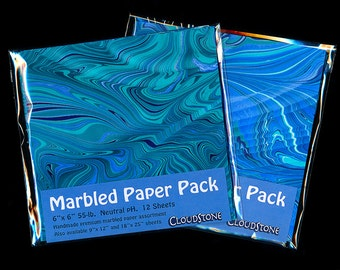 "Marbled Paper Pack 6""x6"" 12pc. Assortment"