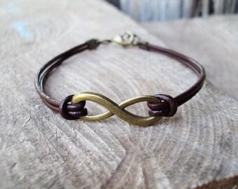 Infinity bracelets,Leather bracelets,Infinity leather,Men leather,Men bracelets