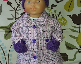 Winter clothing for baby doll: coat, hat and mittens