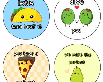 Kawaii loving food pun buttons! Cute for purses, backpacks, and more! 2.25 inches
