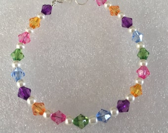 Rainbow Delight Bracelet - multi coloured bicone and faux pearl bracelet