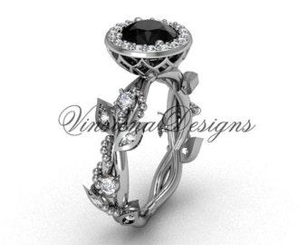 14kt white gold diamond leaf and vine engagement ring, Black Diamond VF301018