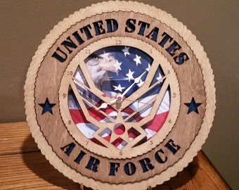 US Air Force Clock Wall Tribute ManCave Military Army Navy Air Force Marines Personalized Stand Available