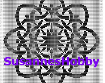 Knitting template pillowcase of Celtic knot pillow b/w 40x40cm knitting pattern