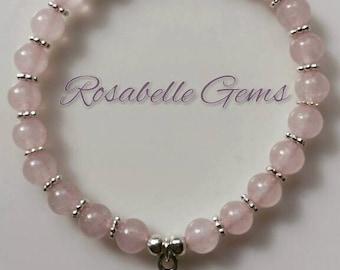 Heart Chakra, Stretch Bracelet, Rose Quartz, Rose Quartz Bracelet, Bracelet, Yoga Bracelet, Chakra Bracelet, Gemstone Bracelet, Love, Pink