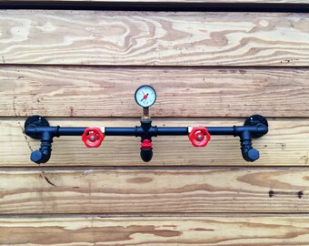 Coat racks and coat rack Industrial Steampunk style in plumbing pipes.