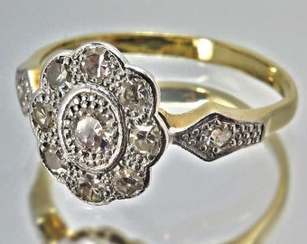 Vintage Art Deco Diamond Cluster Ring 18ct Gold, Ring size UK K1/2 / USA 5 1/4