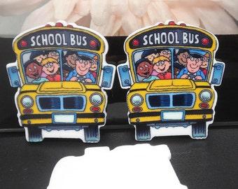 School Bus Student Planar Resin Flatbacks Flat Back Scrapbooking Crafts Making Embellishments DIY
