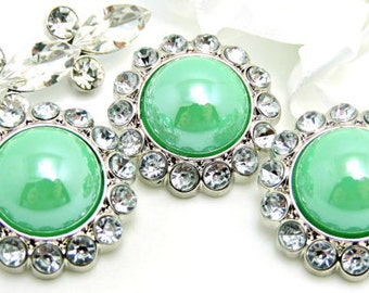 Shiny Mint Green Pearl Buttons W/ Crystal Clear Surrounding Rhinestones Button Bouquet Sewing Buttons Button Embellishments 26mm 3185 04P 2R