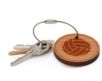 Volleyball Keychain, Wood Keychain, Custom Keychain, Gift For Him or Her, Wedding Gifts, Groomsman Gifts, and Personalized
