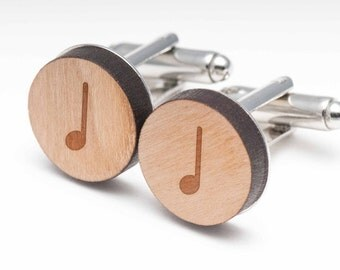 Quarter Note Wood Cufflinks Gift For Him, Wedding Gifts, Groomsman Gifts, and Personalized